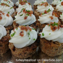 Turkey Meatloaf Cupcakes with Mash Potato Frosting, topped with Crispy Bacon & Chives