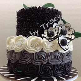 Black and White Ombre Anniversary Cake 2013