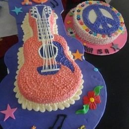 Thumb guitar and peace sign cakes