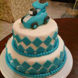 Thumb blue race car with dimonds cake