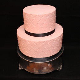 Simple Pink Quilted Wedding Cake
